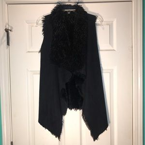 Black Suede and Fuzzy Vest